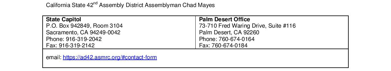 Chad Mayes Contact